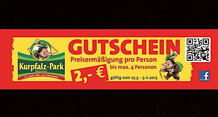 Kurpfalz-Park Gutschein 2 für 1 Rabatt Coupon Saison 2021