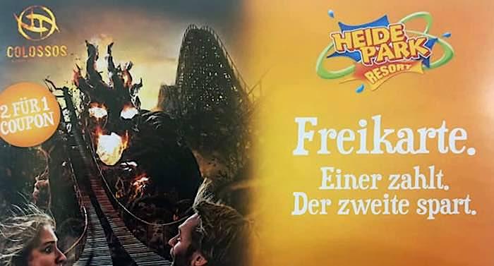 Heide Park Gutschein 2 für 1 Rabatt Coupon Ticket Angebot