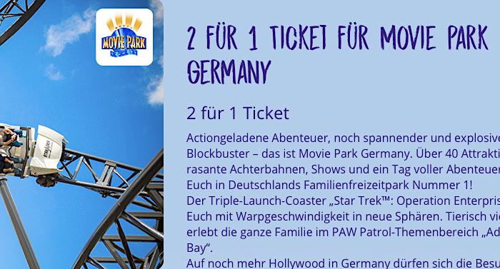 TUFFI Freizeitpark Movie Park 2 für 1 Gutschein Saison 2021 erhältlich
